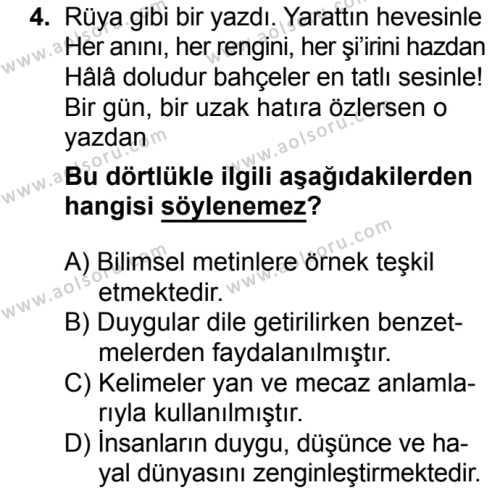 Türk Edebiyatı 1 Dersi 2017 - 2018 Yılı 2. Dönem Sınavı 4. Soru