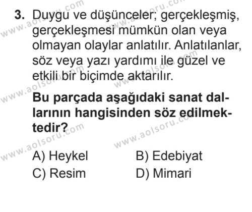 Türk Edebiyatı 1 Dersi 2017 - 2018 Yılı 3. Dönem Sınavı 3. Soru