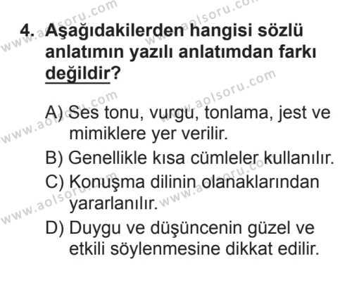 Türk Edebiyatı 1 Dersi 2017 - 2018 Yılı 3. Dönem Sınavı 4. Soru