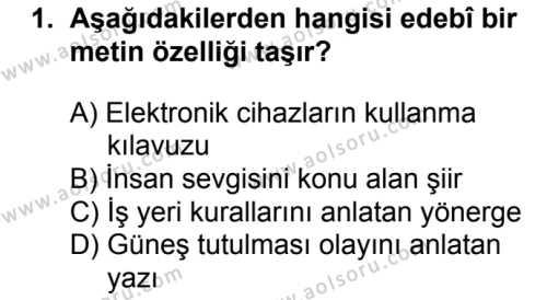 Türk Edebiyatı 1 Dersi 2017 - 2018 Yılı Ek Sınav Soruları 1. Soru
