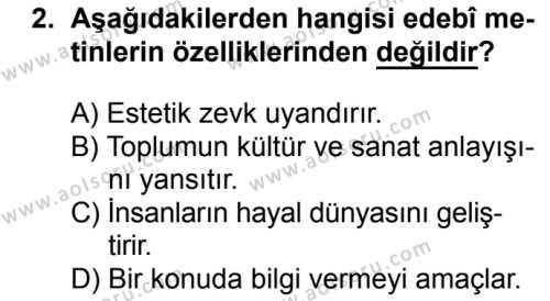 Türk Edebiyatı 1 Dersi 2017 - 2018 Yılı Ek Sınav Soruları 2. Soru