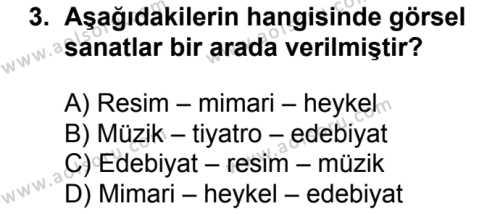 Türk Edebiyatı 1 Dersi 2017 - 2018 Yılı Ek Sınav Soruları 3. Soru