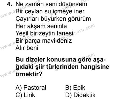 Türk Edebiyatı 1 Dersi 2017 - 2018 Yılı Ek Sınav Soruları 4. Soru