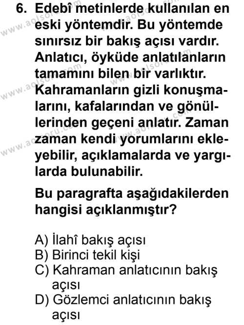 Türk Edebiyatı 2 Dersi 2011-2012 Yılı 1. Dönem Sınavı 6. Soru