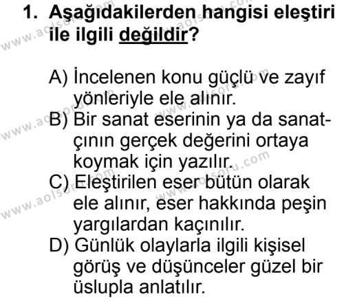 Türk Edebiyatı 2 Dersi 2011 - 2012 Yılı Ek Sınavı 1. Soru