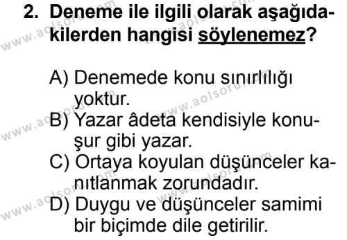 Türk Edebiyatı 2 Dersi 2011 - 2012 Yılı Ek Sınavı 2. Soru