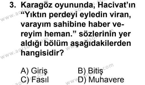 Türk Edebiyatı 2 Dersi 2011 - 2012 Yılı Ek Sınavı 3. Soru