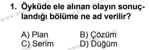 Türk Edebiyatı 2 Dersi 2012-2013 Yılı 1. Dönem Sınavı 1. Soru