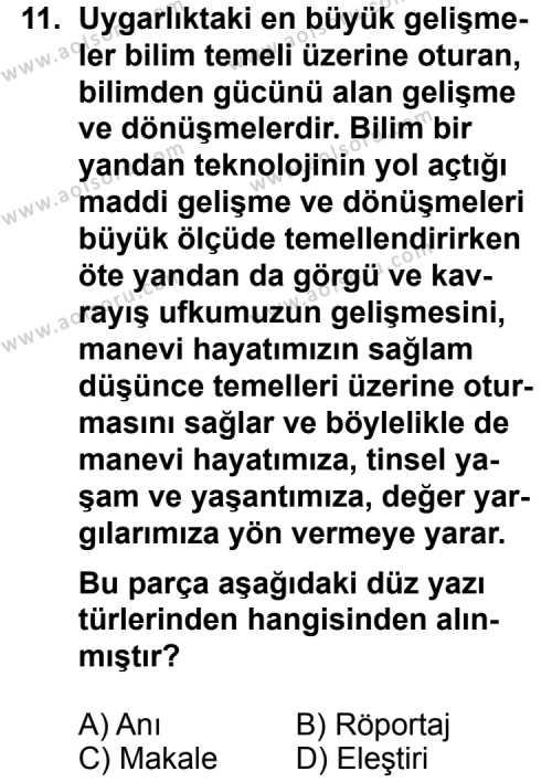 Türk Edebiyatı 2 Dersi 2012-2013 Yılı 1. Dönem Sınavı 11. Soru