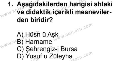 Türk Edebiyatı 2 Dersi 2012 - 2013 Yılı 3. Dönem Sınav Soruları 1. Soru