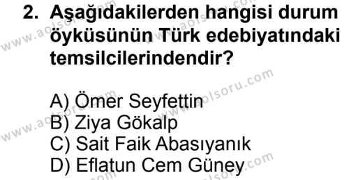 Türk Edebiyatı 2 Dersi 2012 - 2013 Yılı 3. Dönem Sınav Soruları 2. Soru