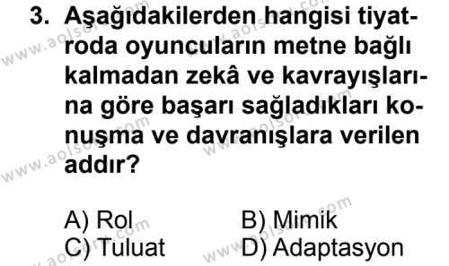 Türk Edebiyatı 2 Dersi 2012 - 2013 Yılı 3. Dönem Sınav Soruları 3. Soru