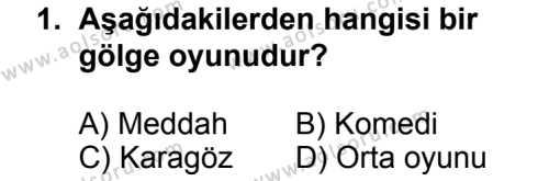 Türk Edebiyatı 2 Dersi 2013 - 2014 Yılı 3. Dönem Sınav Soruları 1. Soru