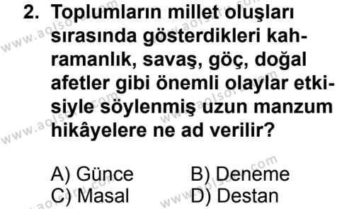 Türk Edebiyatı 2 Dersi 2013 - 2014 Yılı 3. Dönem Sınav Soruları 2. Soru