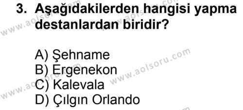 Türk Edebiyatı 2 Dersi 2013 - 2014 Yılı 3. Dönem Sınav Soruları 3. Soru