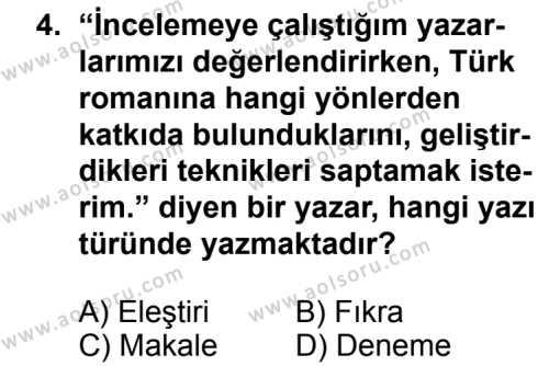 Türk Edebiyatı 2 Dersi 2013 - 2014 Yılı 3. Dönem Sınav Soruları 4. Soru