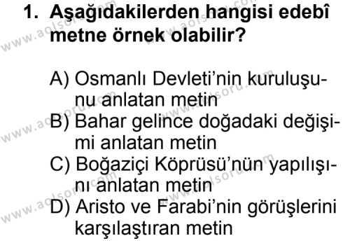 Türk Edebiyatı 2 Dersi 2014 - 2015 Yılı Ek Sınav Soruları 1. Soru