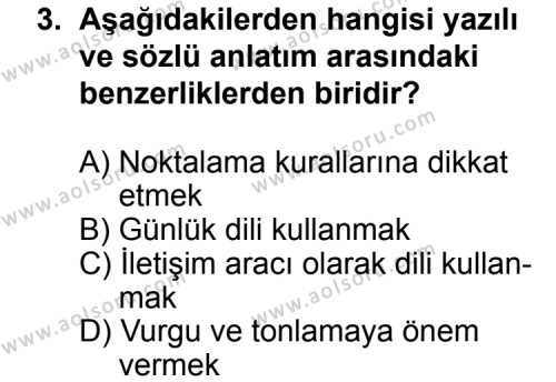 Türk Edebiyatı 2 Dersi 2014 - 2015 Yılı Ek Sınav Soruları 3. Soru