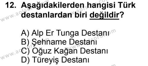 Türk Edebiyatı 2 Dersi 2015-2016 Yılı 1. Dönem Sınavı 12. Soru