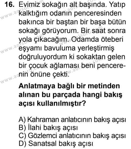 Türk Edebiyatı 2 Dersi 2015-2016 Yılı 1. Dönem Sınavı 16. Soru