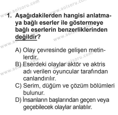 Türk Edebiyatı 2 Dersi 2016 - 2017 Yılı Ek Sınav Soruları 1. Soru