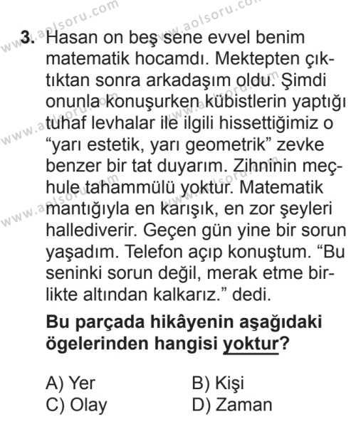 Türk Edebiyatı 2 Dersi 2016 - 2017 Yılı Ek Sınav Soruları 3. Soru