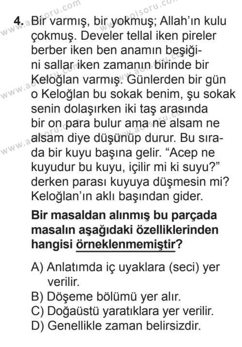 Türk Edebiyatı 2 Dersi 2016 - 2017 Yılı Ek Sınav Soruları 4. Soru