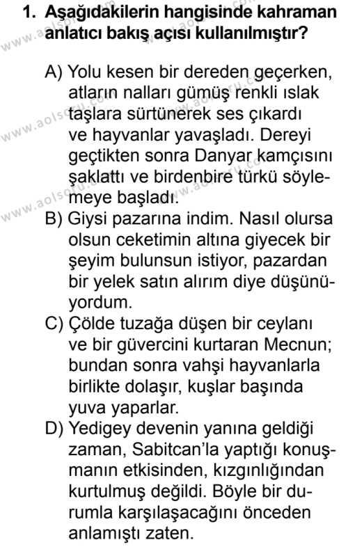 Türk Edebiyatı 2 Dersi 2017 - 2018 Yılı 2. Dönem Sınavı 1. Soru
