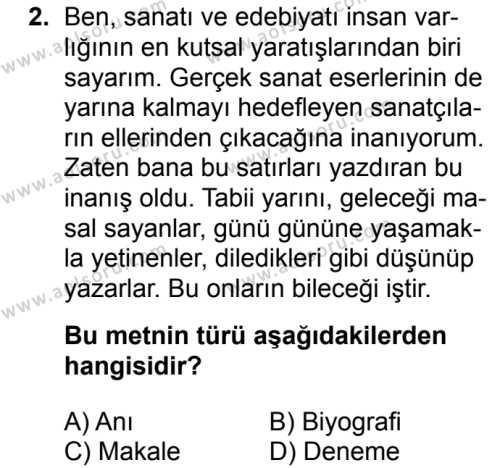 Türk Edebiyatı 2 Dersi 2017 - 2018 Yılı 2. Dönem Sınavı 2. Soru