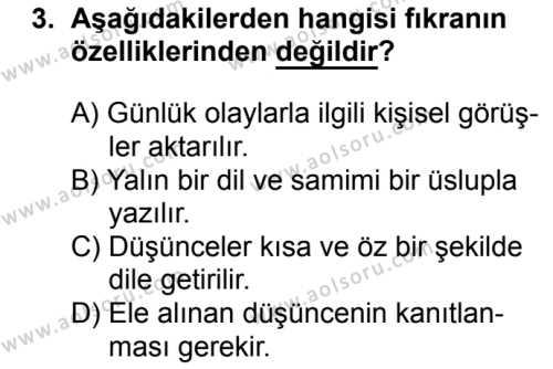 Türk Edebiyatı 2 Dersi 2017 - 2018 Yılı 2. Dönem Sınavı 3. Soru