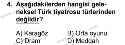 Türk Edebiyatı 2 Dersi 2017 - 2018 Yılı 2. Dönem Sınavı 4. Soru