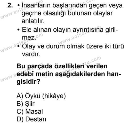 Türk Edebiyatı 2 Dersi 2017 - 2018 Yılı Ek Sınavı 2. Soru
