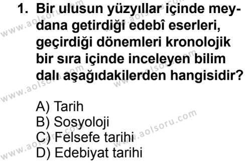 Türk Edebiyatı 3 Dersi 2011 - 2012 Yılı 3. Dönem Sınavı 1. Soru
