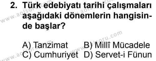 Türk Edebiyatı 3 Dersi 2011 - 2012 Yılı 3. Dönem Sınavı 2. Soru