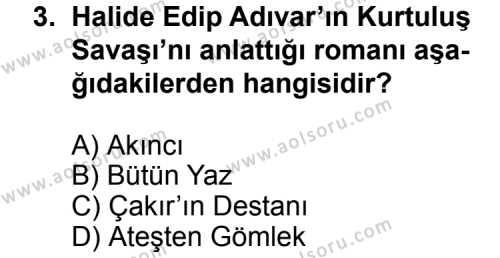 Türk Edebiyatı 3 Dersi 2011 - 2012 Yılı 3. Dönem Sınavı 3. Soru