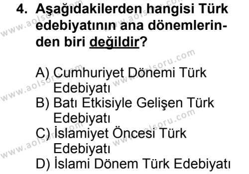 Türk Edebiyatı 3 Dersi 2011 - 2012 Yılı 3. Dönem Sınavı 4. Soru