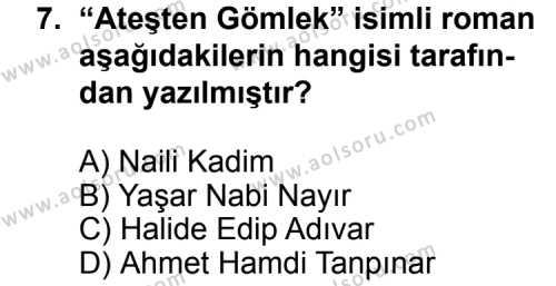 Türk Edebiyatı 3 Dersi 2013-2014 Yılı 1. Dönem Sınavı 7. Soru