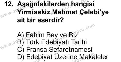 Türk Edebiyatı 3 Dersi 2013-2014 Yılı 1. Dönem Sınavı 12. Soru