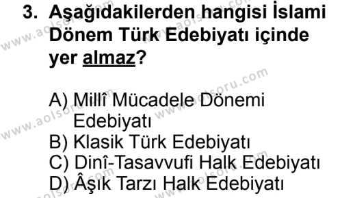 Türk Edebiyatı 3 Dersi 2013 - 2014 Yılı 3. Dönem Sınav Soruları 3. Soru