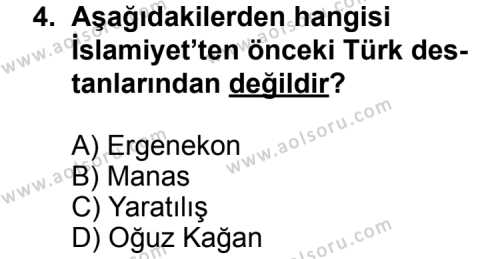 Türk Edebiyatı 3 Dersi 2013 - 2014 Yılı 3. Dönem Sınav Soruları 4. Soru