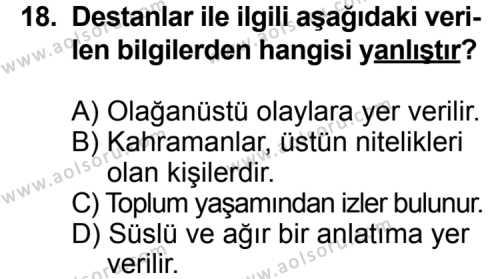 Türk Edebiyatı 3 Dersi 2014-2015 Yılı 1. Dönem Sınavı 18. Soru