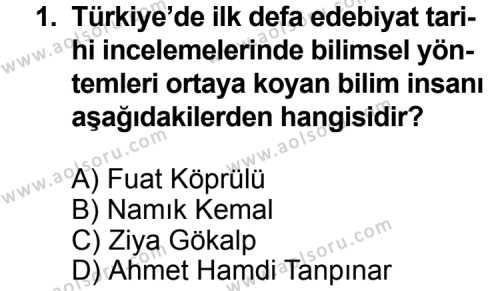 Türk Edebiyatı 3 Dersi 2014 - 2015 Yılı 2. Dönem Sınav Soruları 1. Soru