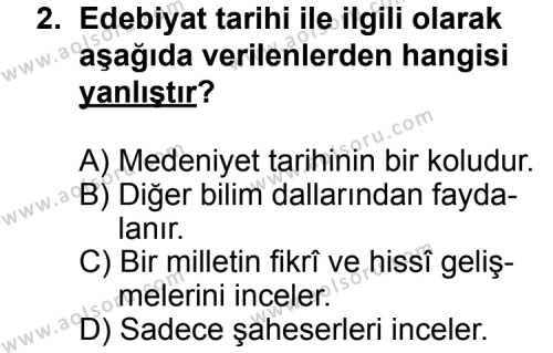Türk Edebiyatı 3 Dersi 2014 - 2015 Yılı 2. Dönem Sınav Soruları 2. Soru