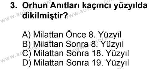 Türk Edebiyatı 3 Dersi 2014 - 2015 Yılı 2. Dönem Sınav Soruları 3. Soru