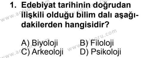 Türk Edebiyatı 3 Dersi 2014 - 2015 Yılı Ek Sınav Soruları 1. Soru
