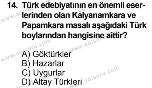 Türk Edebiyatı 3 Dersi 2015-2016 Yılı 1. Dönem Sınavı 14. Soru