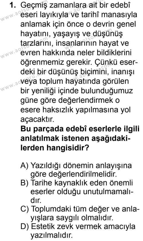 Türk Edebiyatı 3 Dersi 2015 - 2016 Yılı 3. Dönem Sınavı 1. Soru