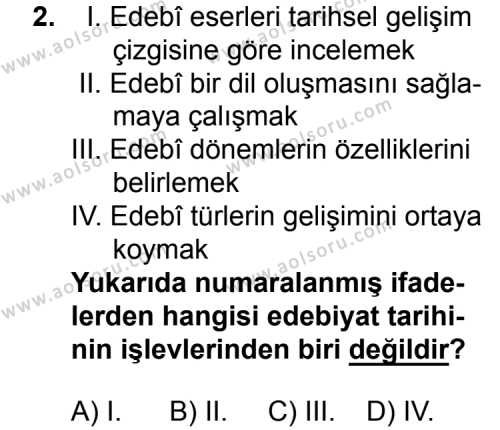 Türk Edebiyatı 3 Dersi 2015 - 2016 Yılı 3. Dönem Sınavı 2. Soru