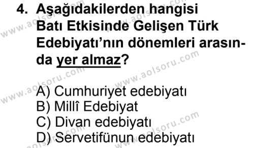Türk Edebiyatı 3 Dersi 2015 - 2016 Yılı 3. Dönem Sınavı 4. Soru