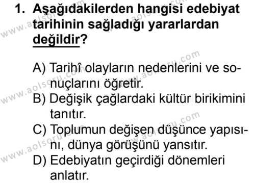 Türk Edebiyatı 3 Dersi 2016 - 2017 Yılı 1. Dönem Sınavı 1. Soru